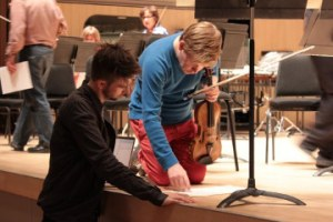 "Pallett rehearsing his ""Violin Concerto"" for the TSO's New Creation Festival"